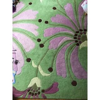 Shop Alliyah Handmade Green Wild Rose Burgundy And Light Grass New Zealand Blend Wool