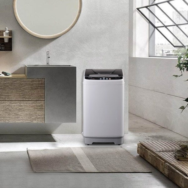 """Full-Automatic Washing Machine 1.32cu.ft/10lbs Portable Compact - 7'10"""" x 10'10"""". Opens flyout."""