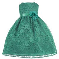 Baby Girls Green Floral Lace T-Length Flower Girl Dress 6-24M
