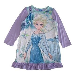Disney Little Girls Purple Blue Frozen Elsa Long Sleeve Ruffle Nightgown