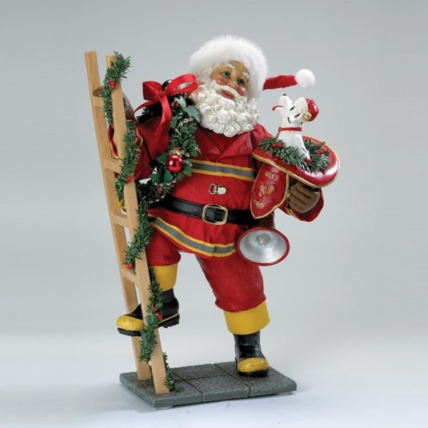 "10.5"" Firefighter Santa Claus with Ladder and Dog Tabletop Christmas Decoration - RED"