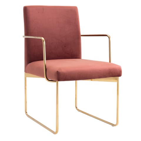 Fabric Upholstered Dining Chair with Metal Sled Base, Gold and Copper