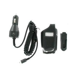 Wireless Solutions Bundle - Leather Case & Car Charger for Motorola V195,V197