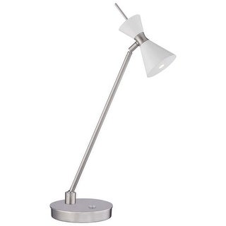 Kovacs P1822-44F-L 1 Light LED Desk Accent Lamp with Glitter Gloss White Shade from the Conic Collection