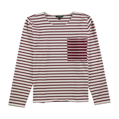 Ralph Lauren Womens Striped Pocket Basic T-Shirt