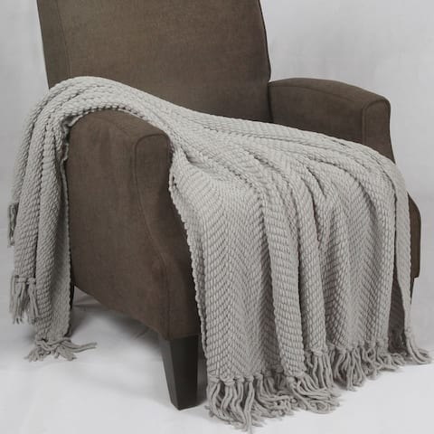 Home Soft Things Jumbo Knitted Tweed Throw Blanket