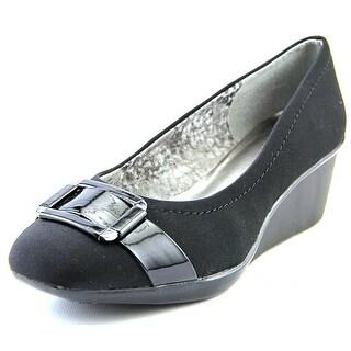 Anne Klein Riky Women Open Toe Canvas Black Wedge Heel