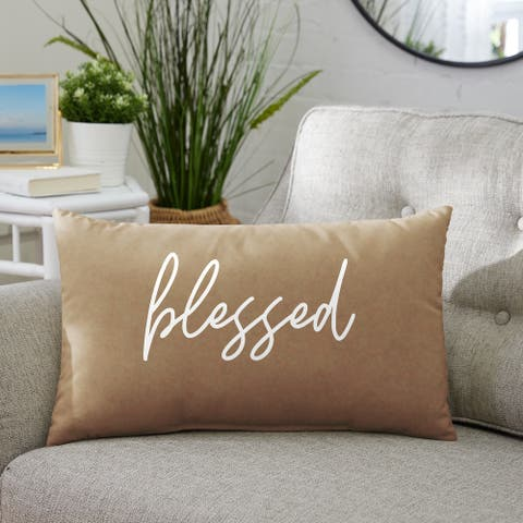 """Indoor Single Embroidered Pillow - """"Blessed"""""""