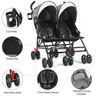 Baby-joy Foldable Twin Baby Double Stroller Kids Ultralight Umbrella Stroller Pushchair - gray