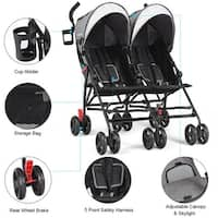 Costway Foldable Twin Baby Double Stroller Kids Jogger Travel Infant Pushchair Gray,Red - Gray