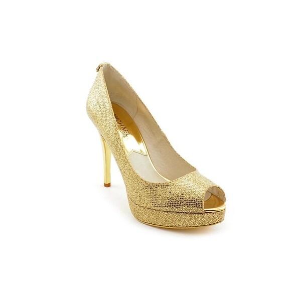 Michael Michael Kors York Platform Women Open Toe Canvas Gold Platform Heel