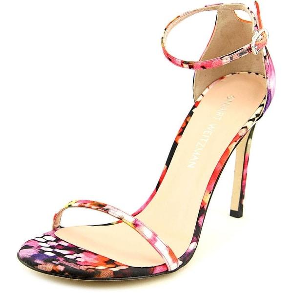 Stuart Weitzman Snakemimi Open Toe Canvas Sandals