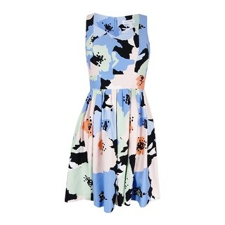 Calvin Klein Women's Pleated Floral Print Dress - Blue (2 options available)