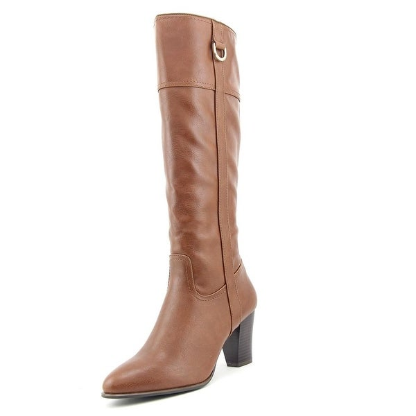 Alfani Carcha Women Round Toe Leather Brown Knee High Boot