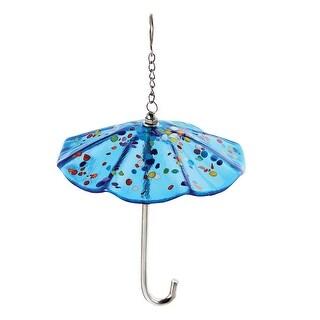 Glass Eye Studio Art Glass Umbrella Ornament - Blue Parasol with Mount Saint Helen's Glass Confetti Accents - 5 in. x 6 in.