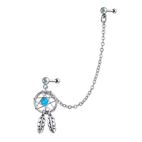Dream Catcher Leaf Double Piercing chain Dangle Earring For Women CZ 316L Steel Blue Accent