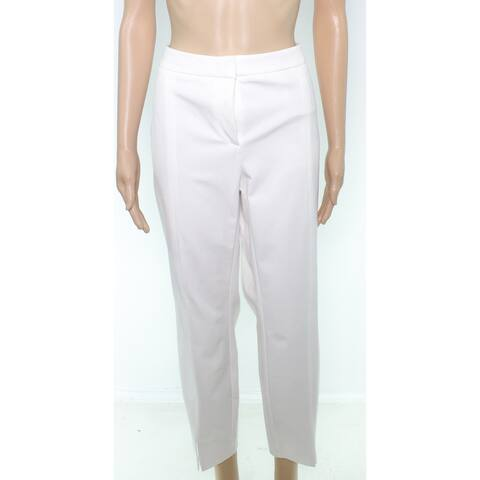 Alfani Women's Dress Pants White Size 10 Stretch Seamed Slit Slim Fit