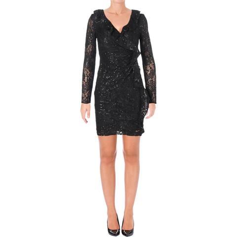 Lauren Ralph Lauren Womens Petites Party Dress Lace Ruffled