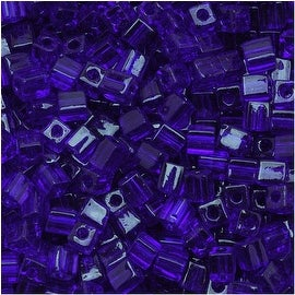 Miyuki 4mm Glass Cube Beads Transparent Cobalt Blue 151 10 Grams
