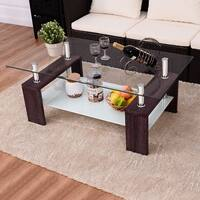 Costway Rectangular Tempered Glass Coffee Table w/Shelf Wood Living Room Furniture