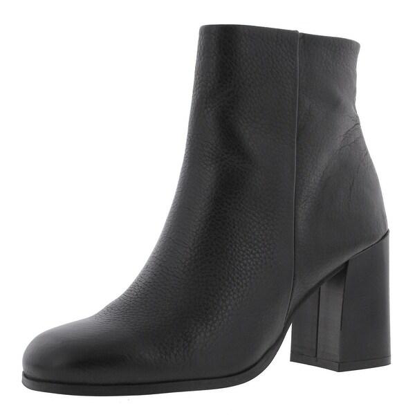Steve Madden Womens Karera Ankle Boots Leather Flared Heel Black 8 Medium (B,M) - 8 medium (b,m)