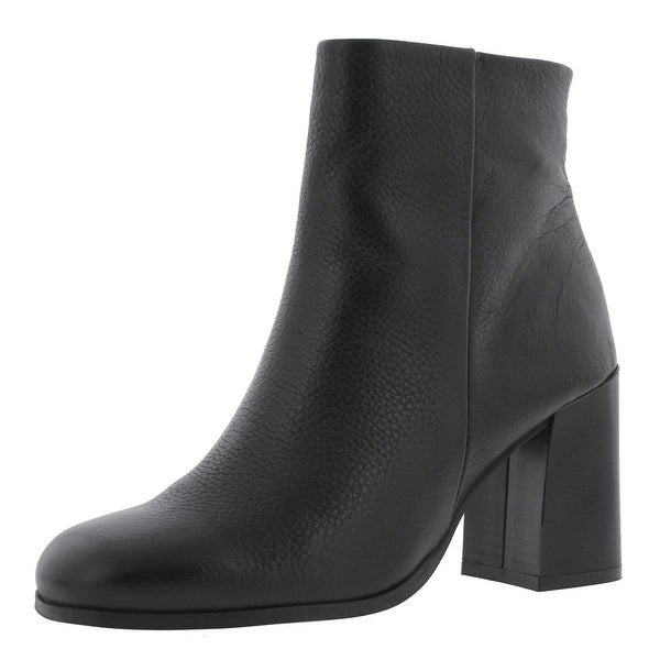 Steve Madden Womens Karera Ankle Boots Leather Flared Heel Black 9 Medium (B,M) - 9 medium (b,m)