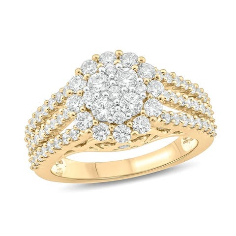 Cali Trove 1 1/2 CTTW Diamond Fashion Ring in 10kt White/Yellow/Pink Gold