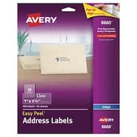 Avery Easy Peel Permanent-Adhesive Address Labels For Inkjet Printers, 1 x 2-5/8 in, Clear, Pack of 750