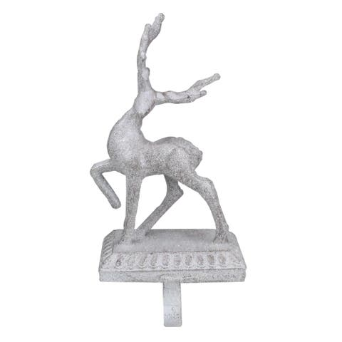 "10.5"" Elegant White Standing Reindeer Frosted With Glitter Christmas Stocking Holder"