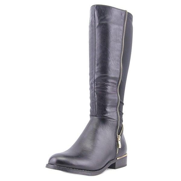 Modern Rush Zippy Round Toe Leather Knee High Boot
