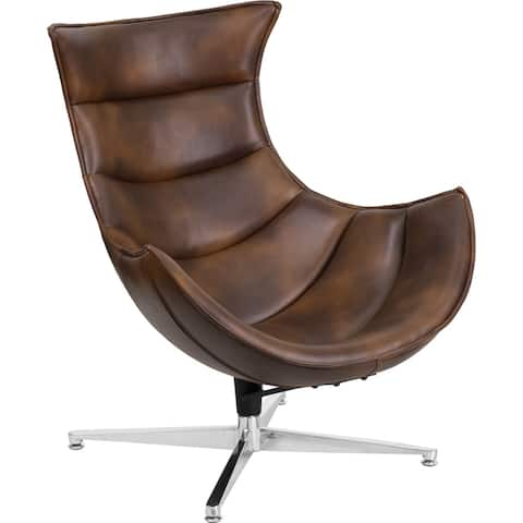 Chancellor Bomber Jacket Leather Swivel Modern Reception/Guest Cocoon Chair