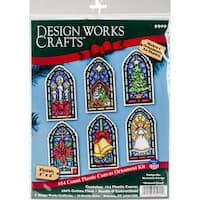 """Stained Glass Ornaments Counted Cross Stitch Kit-2""""X4"""" 14 Count Set Of 6"""