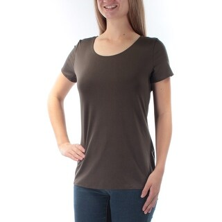 NY COLLECTION $14 Womens New 1782 Brown Jewel Neck Cap Sleeve Casual Top M B+B