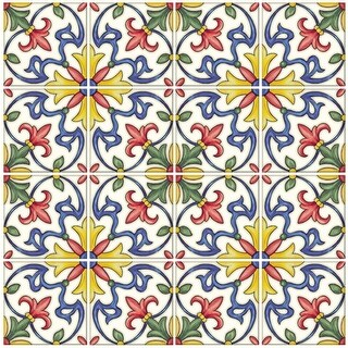 """Brewster NH2365 Tuscan 10"""" x 10"""" Square Floral Self-Adhesive Resin Peel and Stick Backsplash Tiles - Multi Colored - N/A"""