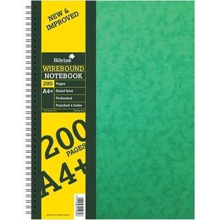 "200 Pages - Silvine A4+ Twin Wirebound Hardback Notebook 8.72""X11.69"""