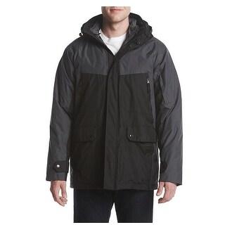 IZOD Men's Systems Colorblocked Hood Black/Charcoal Size Medium