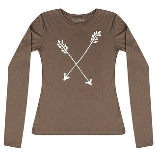 Three For Twelve White Arrows Printed Front Design Junior's Casual Brown T-shirt