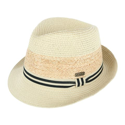 Sun N Sand Women's Packable Fedora Hat with Striped Hatband - Natural
