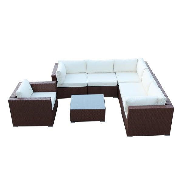 California Backyard Patio Furniture.Shop California 7 Pieces Outdoor Patio Wicker Sofa Sectional