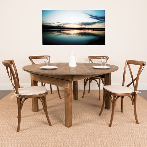 """60"""" Round Antique Rustic Solid Pine Folding Farm Dining Table"""