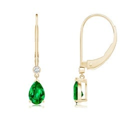 Leverback Pear Emerald Drop Earrings with Diamond