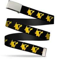 "Blank Chrome 1.0"" Buckle Pikachu Silhouette Black Yellows Webbing Web Belt 1.0"" Wide - S"
