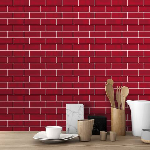 Walplus Cherry Red Metro 3D Metro Peel and Stick Backsplash Tile Stickers