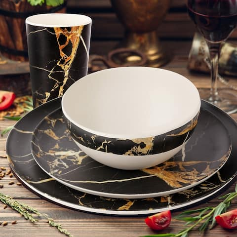 GIA 8 Piece Black Marble Melamine Dinnerware Set for Adults