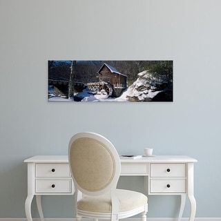Easy Art Prints Panoramic Image 'House in a snow, Glade Creek, Grist Mill Babcock State Park, West Virginia' Canvas Art