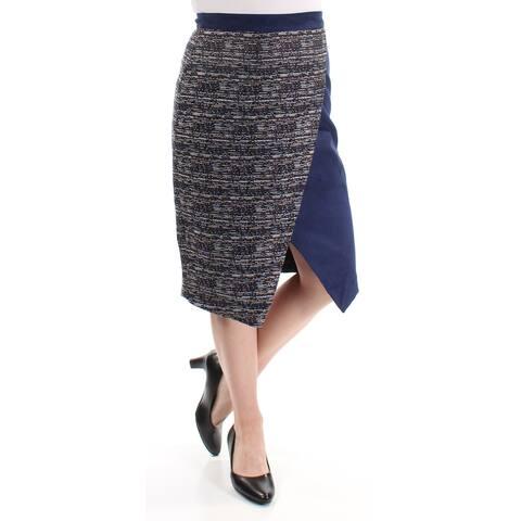 CATHERINE MALANDRINO Womens Navy Slitted Zippered Below The Knee Pencil Skirt Size: 4