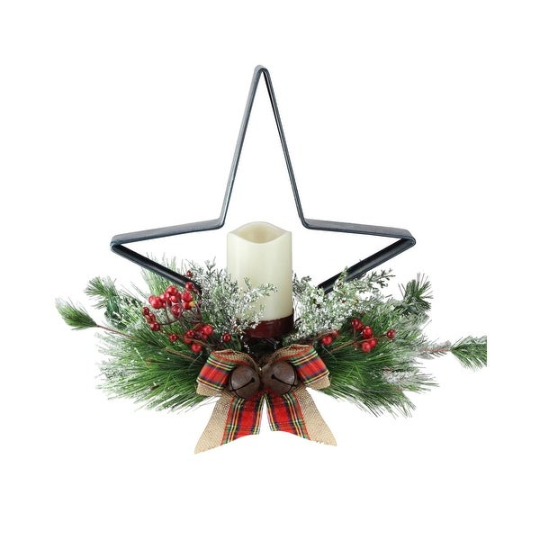 """15"""" Pine Needle, Berry and Jingle Bell Deep Green Star Shaped Candle Holder"""