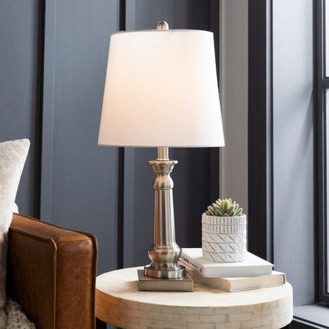 "Lora Brushed Nickel Traditional 23-inch Table Lamp - 23""H x 11""W x 11""D"
