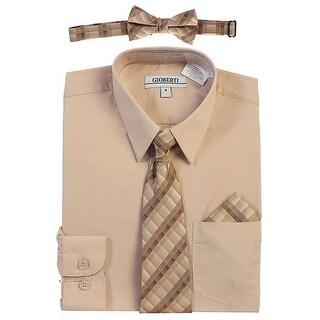 Gioberti Little Boys Khaki Tie Bow Tie Handkerchief Dress Shirt 4 Pc Set (More options available)