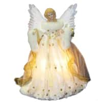 "14"" Lighted Ivory and Gold Fiber Optic Animated Angel Christmas Tree Topper"